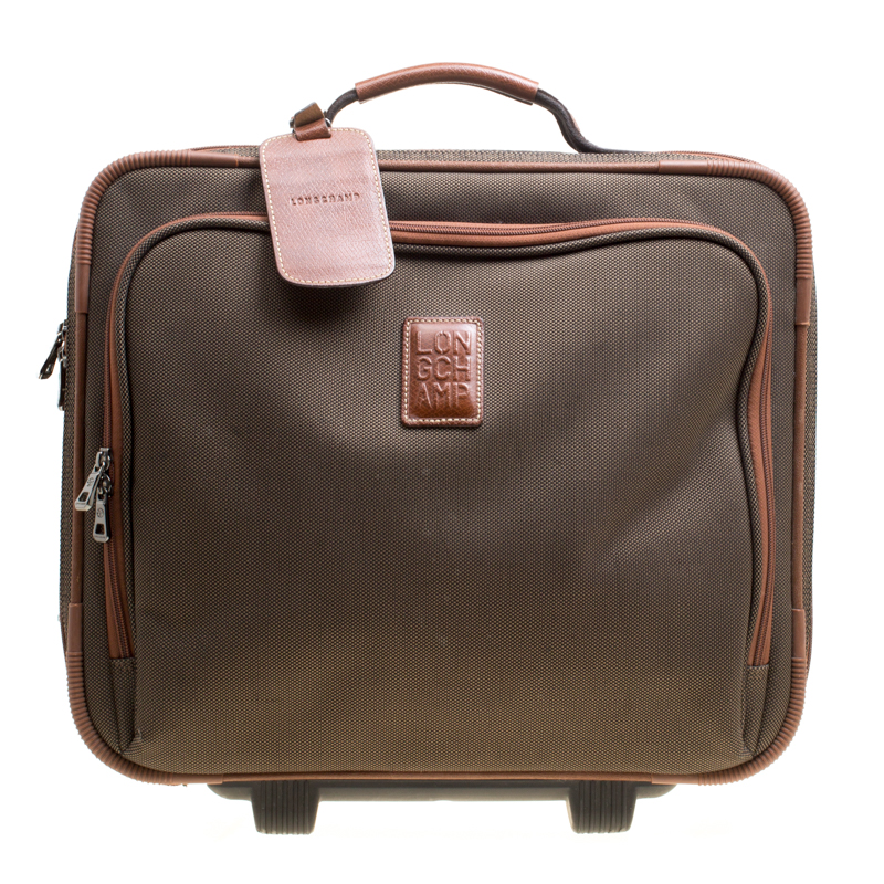 Buy Longchamp Military Green Brown Canvas Boxford Carry on Luggage ... a5a201a7eb4cf