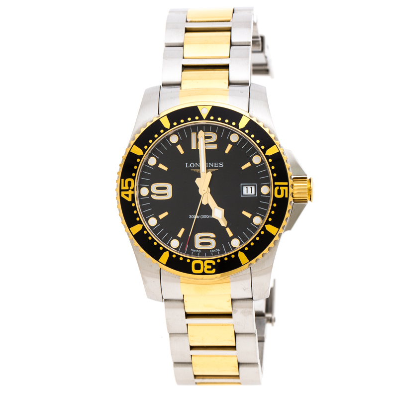 Longines Black Two-Tone Stainless Steel Hydro Conquest L37403567 Men's Wristwatch 41 mm