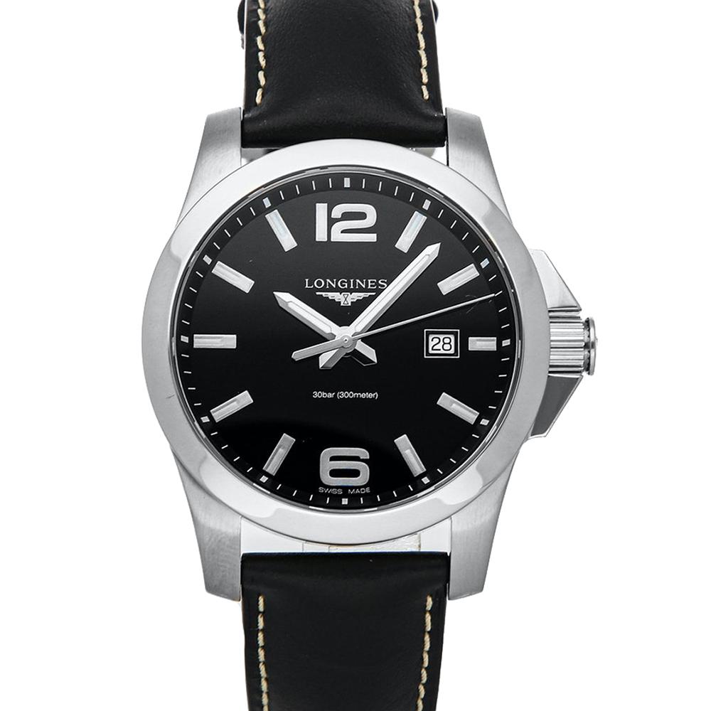 Longines Black Stainless Steel Conquest L3.760.4.56.3 Men's Wristwatch 43 MM