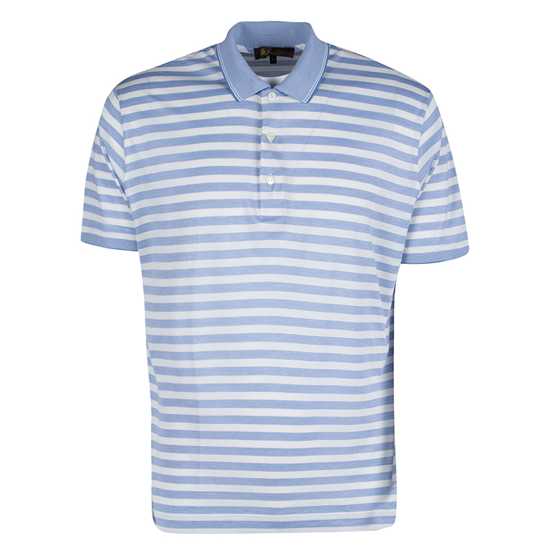 75fc0cdb8d Buy Loro Piana Blue and White Striped Polo T-Shirt L 131785 at best ...