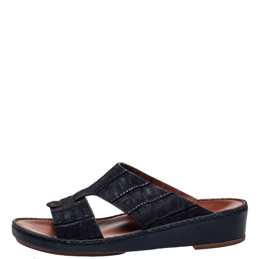 Loro Piana ( Exclusive For Dubai) Blue Leather Slip on Sandals Size 42.5  - buy with discount