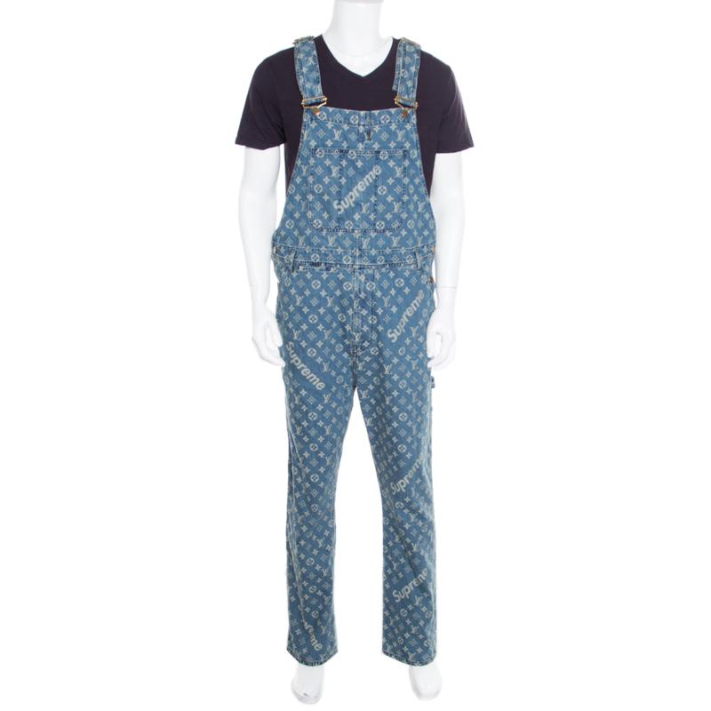 3ea7c0cd78cc Buy Louis Vuitton x Supreme Indigo Monogram Jacquard Denim Overalls S  166917 at best price