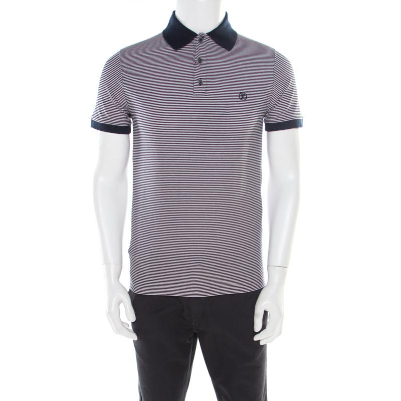 371d684e ... Louis Vuitton Navy Blue and White Horizontal Striped Polo T-Shirt S.  nextprev. prevnext