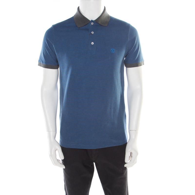 c0004bd1 ... Louis Vuitton Blue and Grey Horizontal Striped Polo T-Shirt M.  nextprev. prevnext