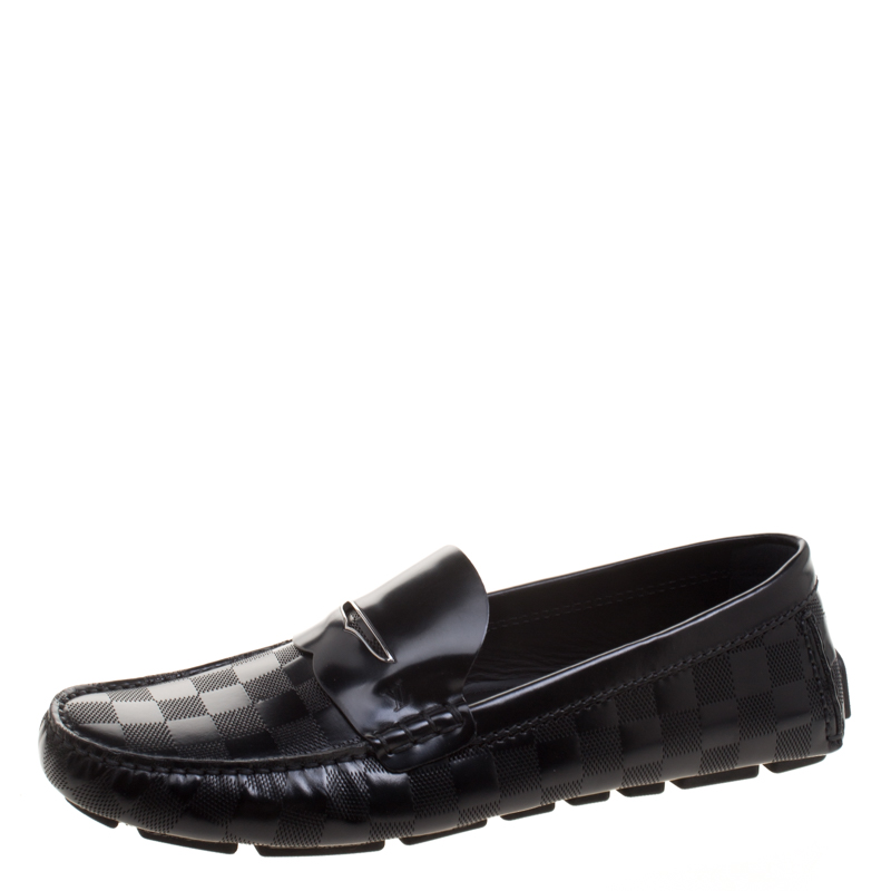 faed72f24533 ... Louis Vuitton Black Damier Embossed Shade Penny Loafers Size 42.  nextprev. prevnext