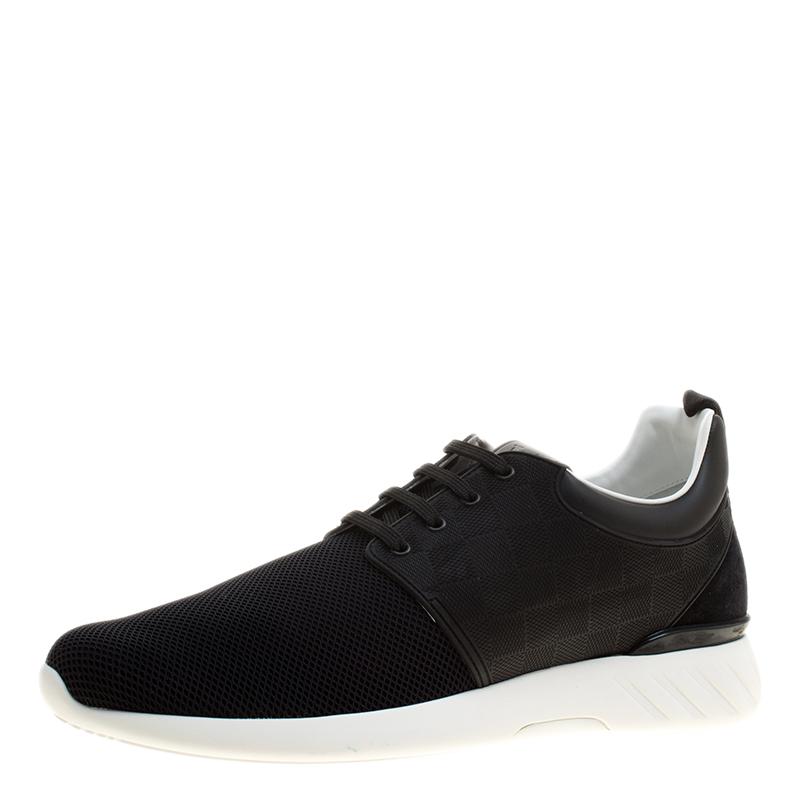 5270e4d0167 Louis Vuitton Black Damier Infini Leather and Mesh Fastlane Sneakers Size  43.5