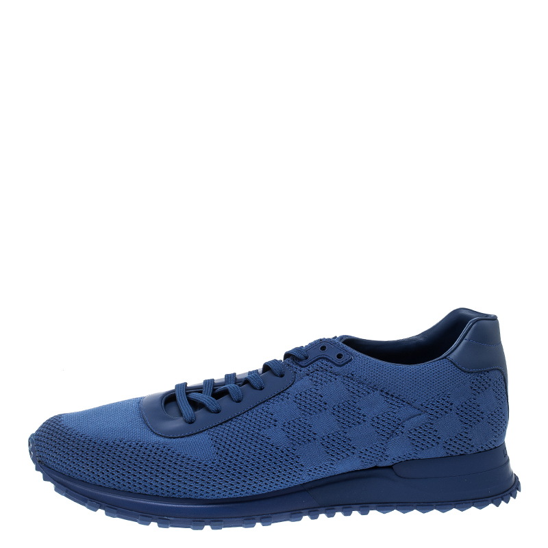 96fc04726db Louis Vuitton Blue Damier Mesh Run Away Lace Up Sneakers Size 45