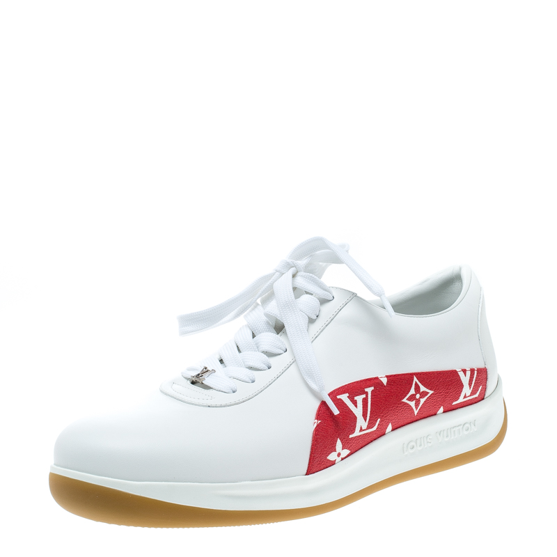 4b9ad13b319 Louis Vuitton x Supreme White Leather and Monogram Canvas Trim Sport  Sneakers Size 42.5