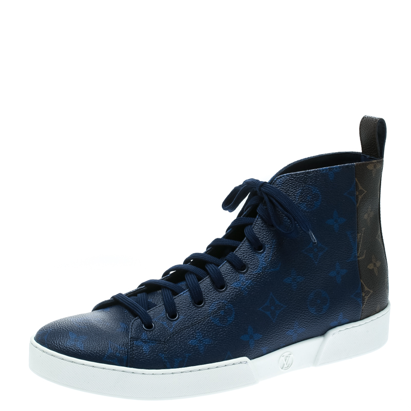 936b47dcd60 Louis Vuitton Two Tone Mix Monogram Canvas Match Up High Top Sneakers Size  42.5