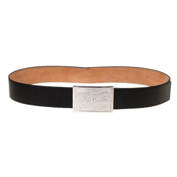 Louis Vuitton Black Jeans Calf Leather Belt 95CM