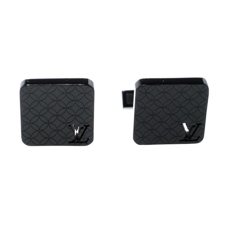 Louis Vuitton Champs Elysées Black Textured Cufflinks