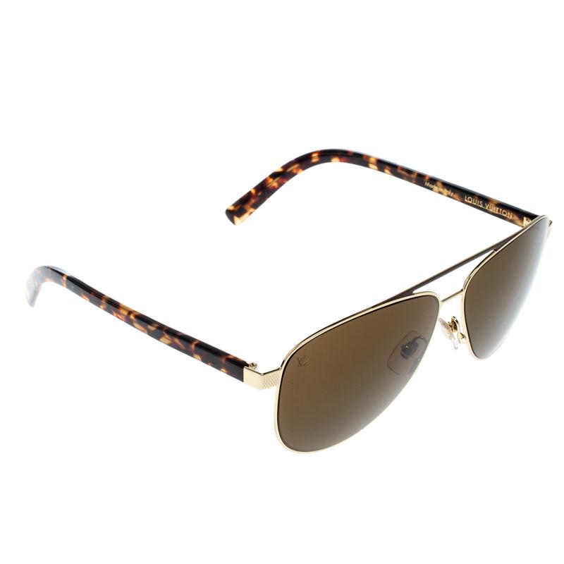 d09531d0f56a0 ... Louis Vuitton Gold   Brown Z0846U Starship Aviator Sunglasses.  nextprev. prevnext