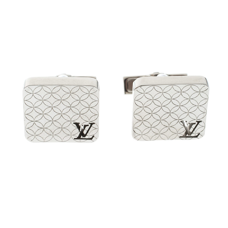 721dbec59389 Buy Louis Vuitton Champs Elysees Textured Silver Tone Cufflinks ...