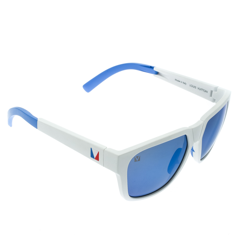 Louis Vuitton White/Blue Mirrored Z0828W America's Cup Nautical Wayfarer Sunglasses