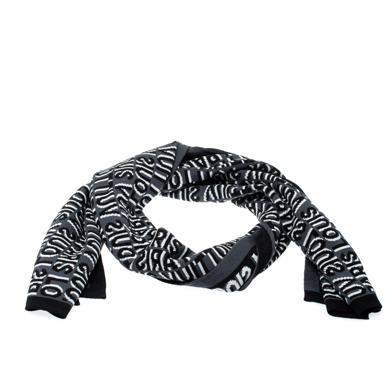 Louis Vuitton Black & Grey Wool Article de Voyage Wool Scarf