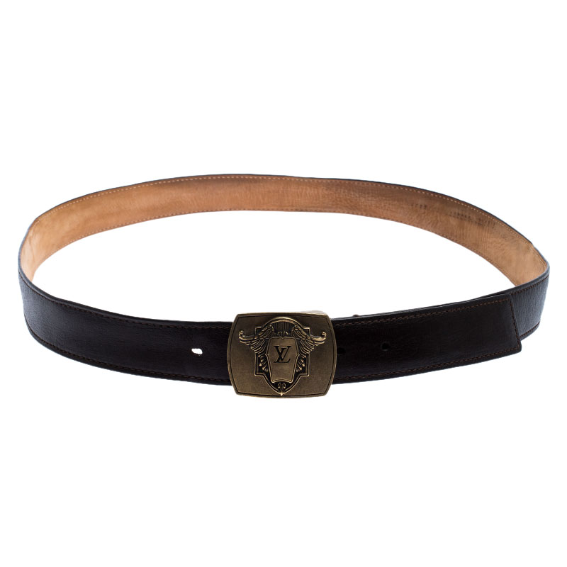 Louis Vuitton Dark Brown Leather Utah Ecusson Buckle Belt 110CM