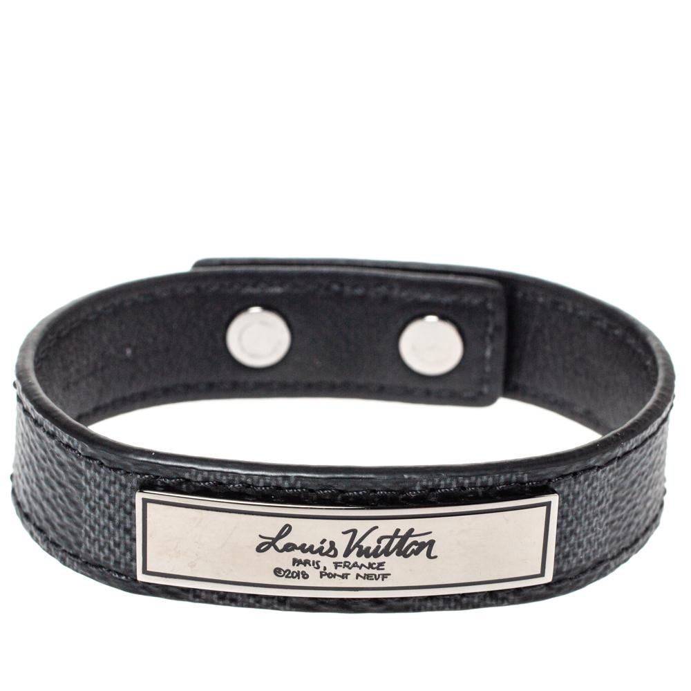 Louis Vuitton Damier Graphite Canvas Logo Plaque Bracelet