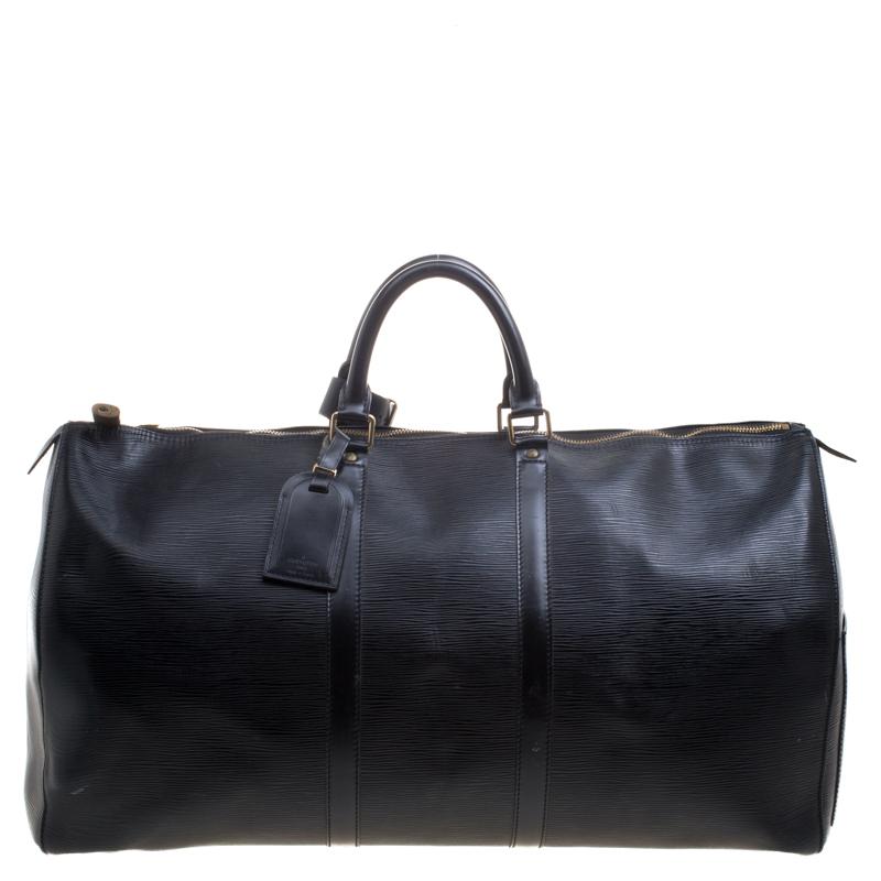08a561d2e8b Louis Vuitton Black Epi Leather Keepall 55