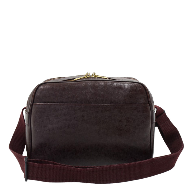 Купить со скидкой Louis Vuitton Burgundy Taiga Leather Reporter Bag