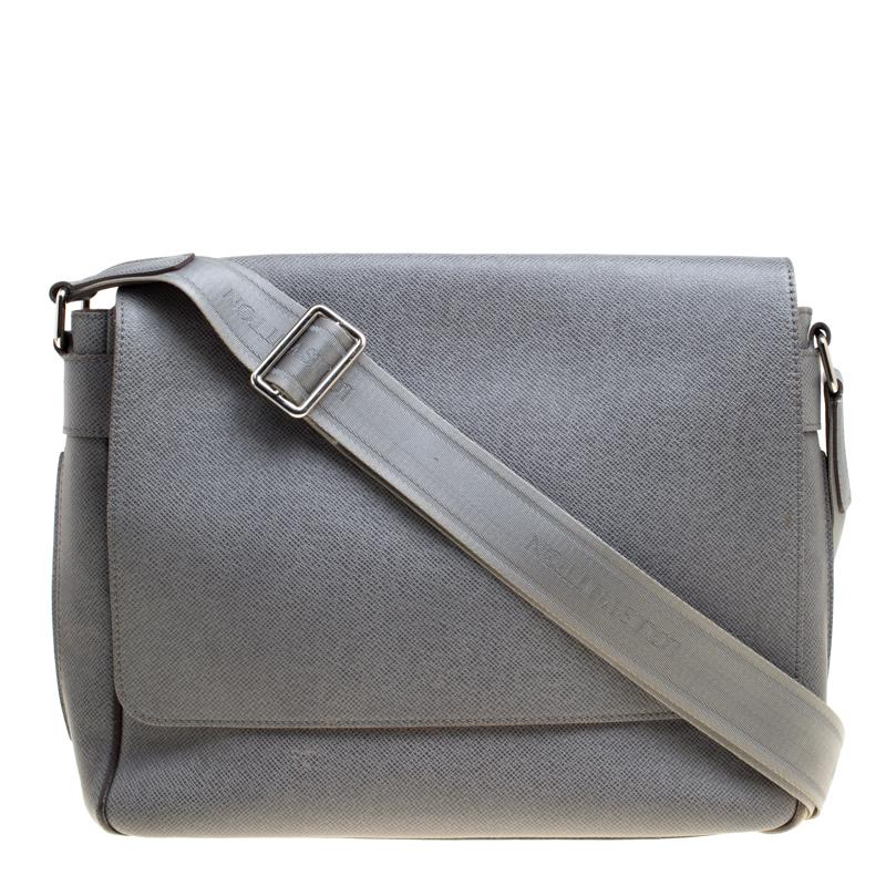 Купить со скидкой Louis Vuitton Grey Taiga Leather Roman MM Bag