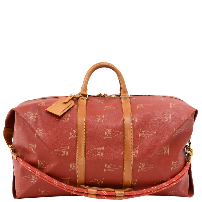 Louis Vuitton Red Coated Canvas Vintage 1995 Lv Cup Duffel Bag