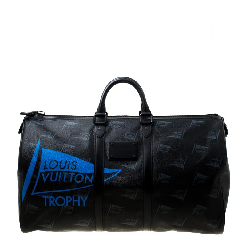 Фото #1: Louis Vuitton Black Coated Canvas Limited Edition 049/200 Dubai Keepall Bandouliere 55 Bag