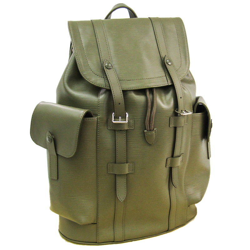 Louis Vuitton Khaki Epi Leather Christopher Backpack, Green