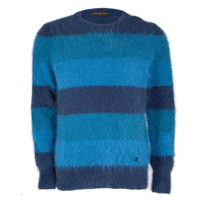 Louis Vuitton Blue Striped Angora Hair Fuzzy Sweater L