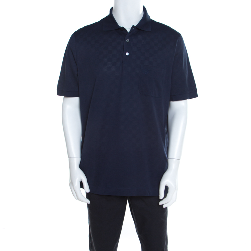 3a66d754 ... Louis Vuitton Navy Blue Classic Damier Pique Polo T-Shirt XXL.  nextprev. prevnext
