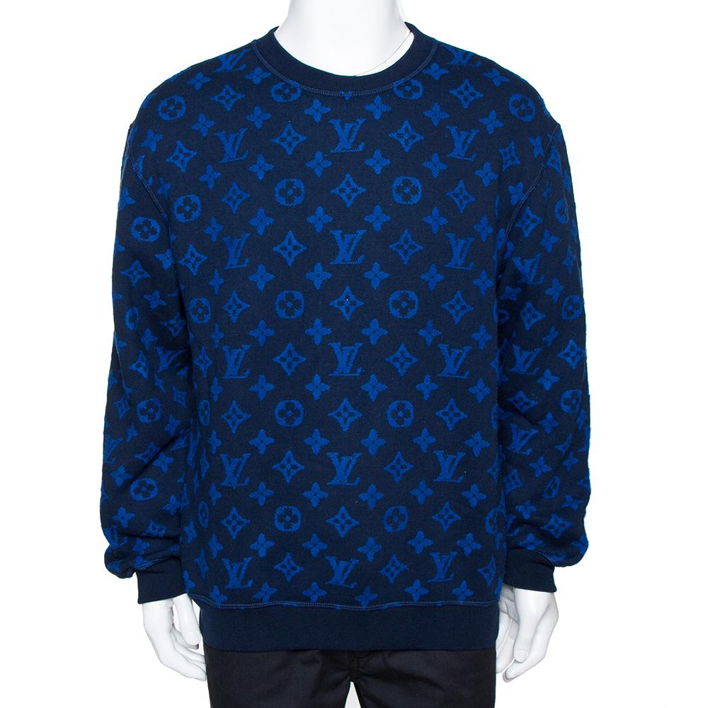 Louis Vuitton Blue Monogram Jacquard Wool Blend Sweatshirt M