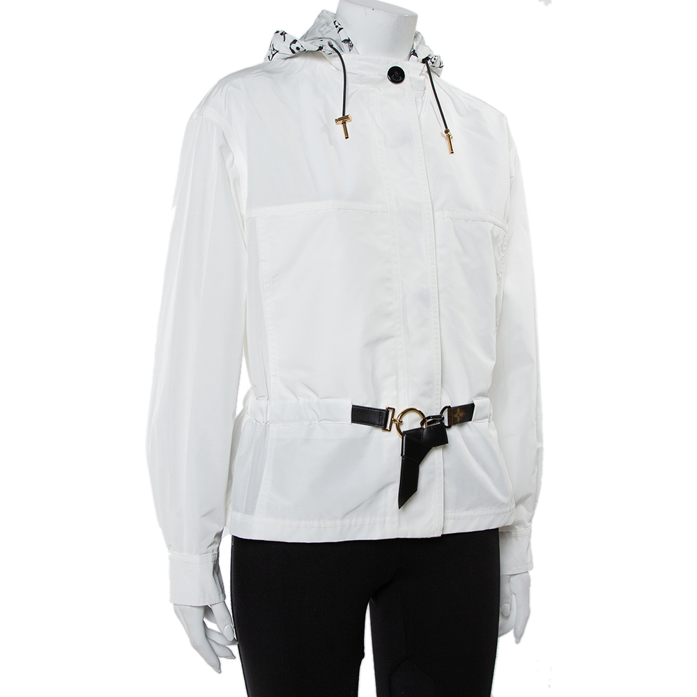 Louis Vuitton White Synthetic & Cotton Short Hooded Parka S