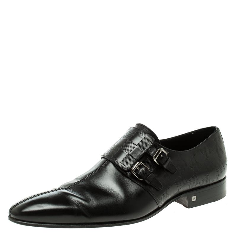 60539011d57e ... Louis Vuitton Black Infini Leather Buckle Derby Shoes Size 42.  nextprev. prevnext