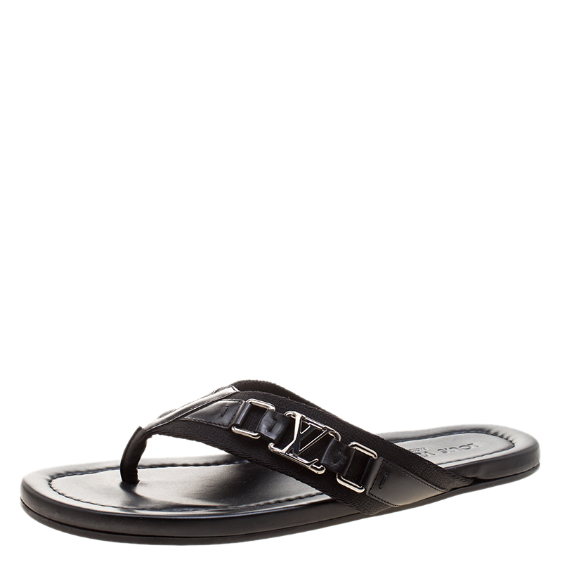 d585a0c1021 Buy Louis Vuitton Black Fabric and Leather Hamptons Thong Sandals ...