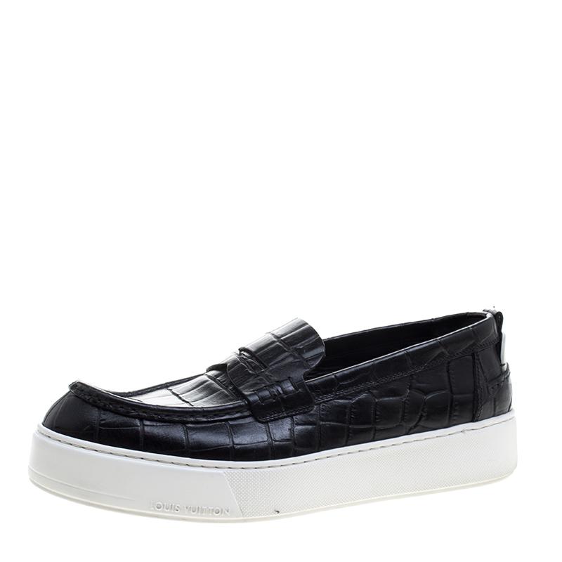 Croc Embossed Leather Slip on Sneakers
