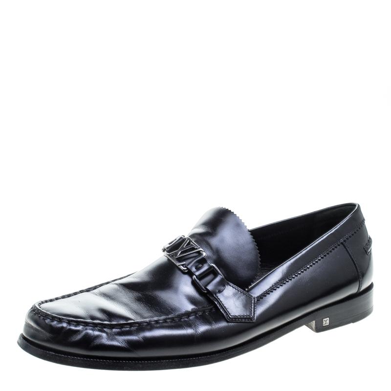 Louis Vuitton Black Leather Major Loafers Size 44.5