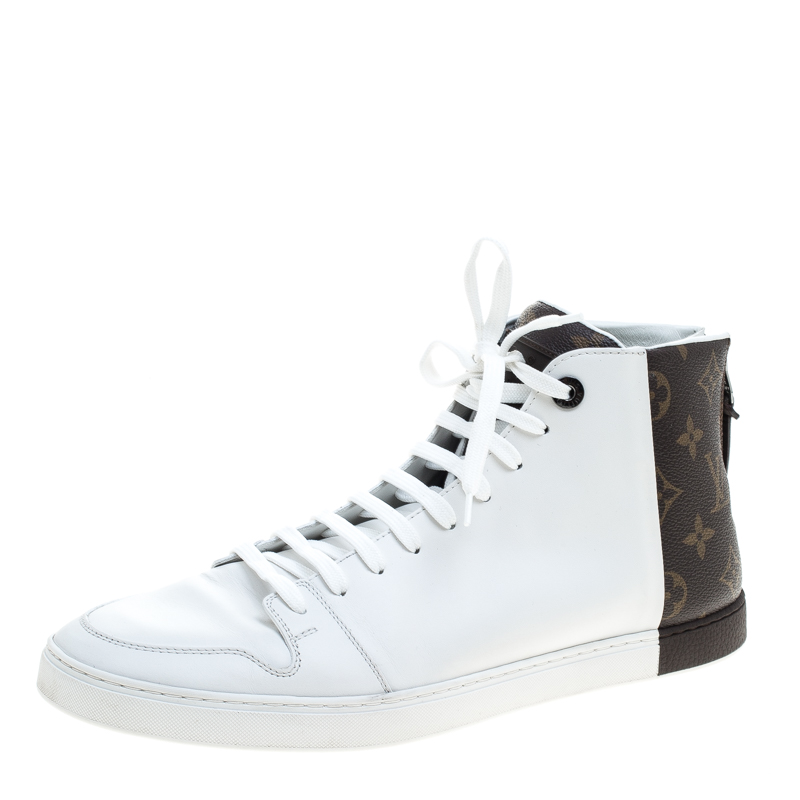 96a0f9dd9d77 Buy Louis Vuitton White Leather and Monogram Canvas High Top ...