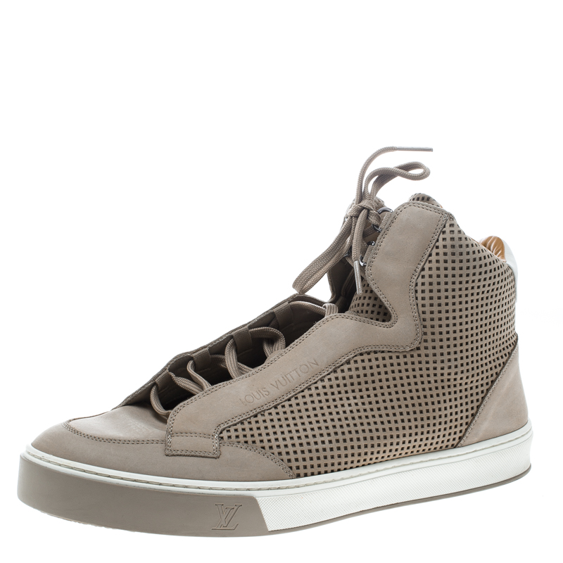 6336e3574a0 Louis Vuitton Beige Perforated Nubuck Speaker High Top Sneakers Size 44