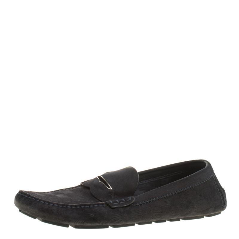 0477e166acf ... Louis Vuitton Dark Blue Damier Embossed Suede Shade Penny Loafers Size  44. nextprev. prevnext