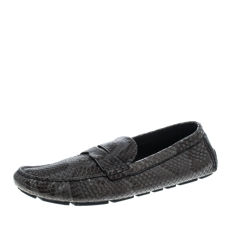 9967b089c1a Buy Louis Vuitton Grey Python Penny Loafers Size 43.5 146738 at best ...