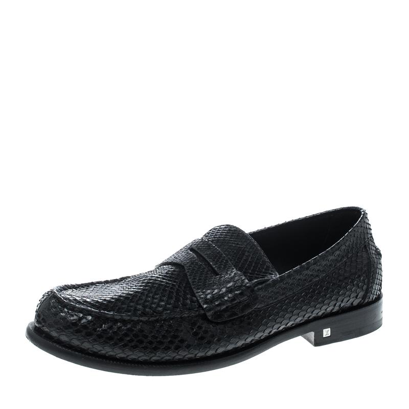 5543fb31c1e Louis Vuitton Black Python Loafers Size 42
