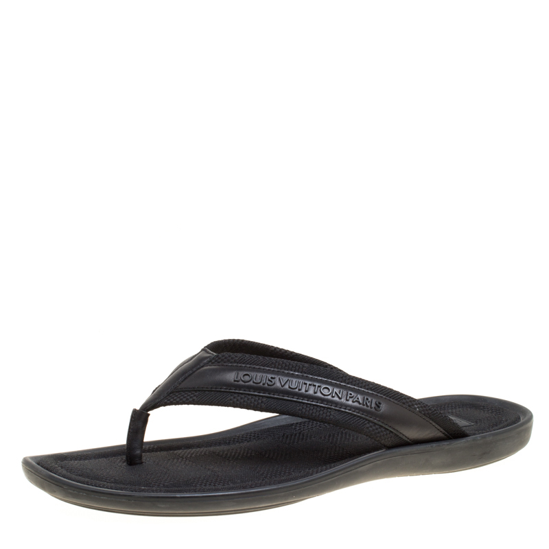 42299b904197 Buy Louis Vuitton Black Damier Canvas and Leather Thong Sandals Size ...