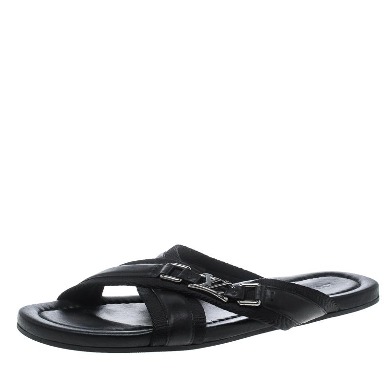 9922f46c48e2 ... Louis Vuitton Black Leather Criss-Cross Sandals Size 44. nextprev.  prevnext