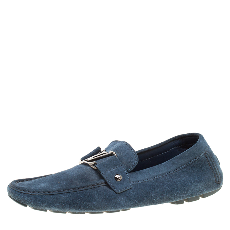 f1fcdacaf2d9 Buy Louis Vuitton Blue Suede Monte Carlo Loafers Size 41 155778 at ...