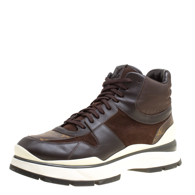 68092bc8fab Louis Vuitton Brown Monogram Canvas and Leather Platform High Top Sneakers  Size 43.5