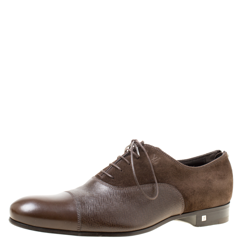 Louis Vuitton Brown Suede and Leather Ardoise Atlas Oxfords Size 41.5
