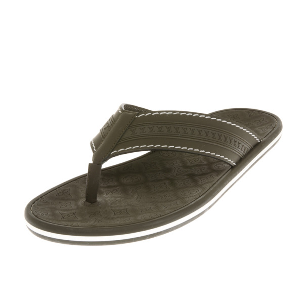f5612d16bc6fd3 Buy Louis Vuitton Green Leather Ipanema Thong Sandals Size 42 18312 ...