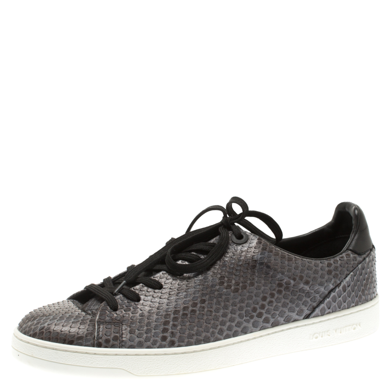 c102d6ef628 Louis Vuitton Grey Python Leather Front Row Lace Up Sneakers Size 41