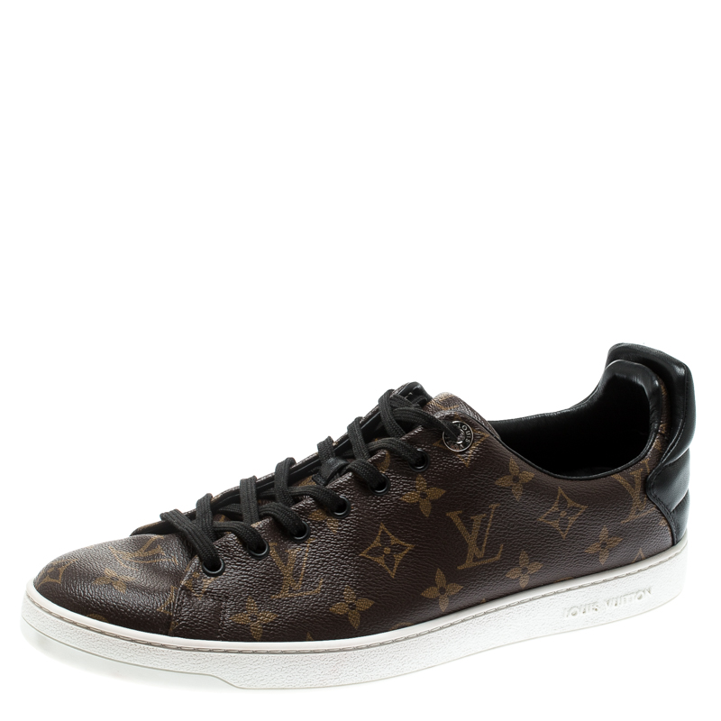 304e32c6ec3 Louis Vuitton Brown Monogram Canvas And Black Leather Frontrow Low Top  Sneakers Size 43