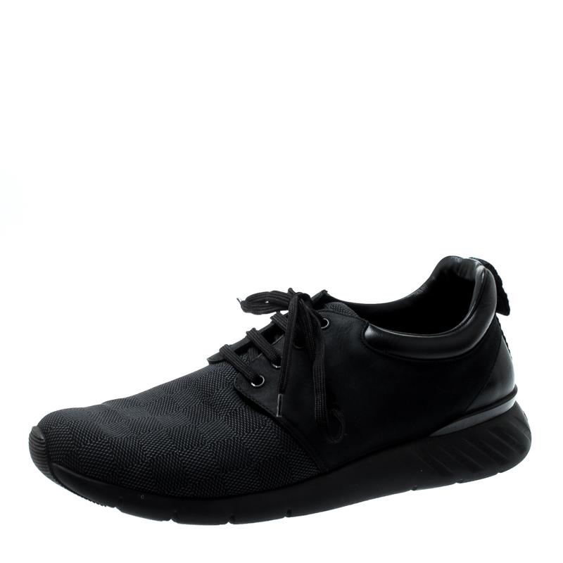 e7336cfd87f Louis Vuitton Black Damier Nylon and Nubuck Fastlane Sneakers Size 43