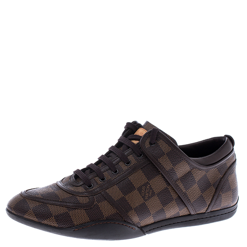 Louis Vuitton Damier Ebene Canvas and Leather Boogie Sneakers Size 40.5